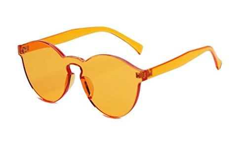 GAMT Rimless Tinted Transparent Sunglasses Futuristic Colorful Designer Glasses (Yellow, - Sale Black Glasses Friday