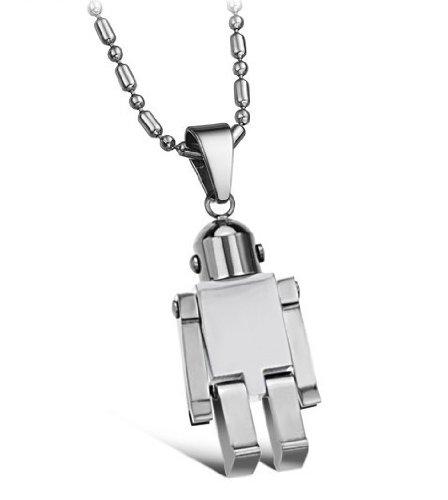 Brand New Men's Titanium Robot Pendant Necklace Fashion Korean Style in a Gift ()