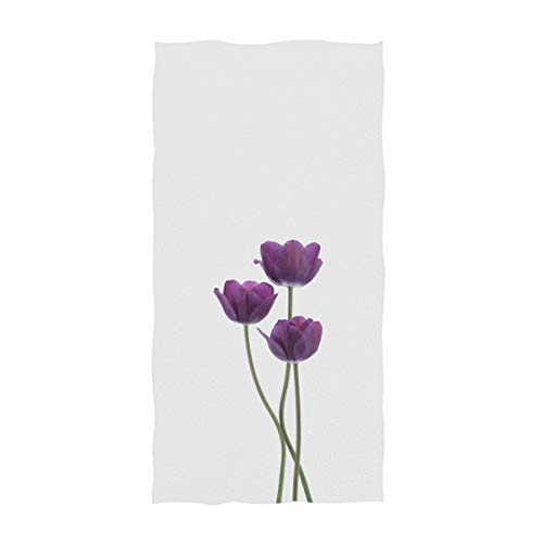 AGONA Purple Colored Tulip Flowers Hand Towels Absorbent Soft Face Towels Large Decorative Bath Towels Multipurpose for Bathroom Kitchen Gym Yoga 30