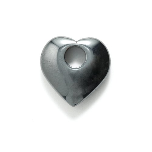 Shipwreck Beads Focal Hematite Heart with Large Hole 20-mm, -