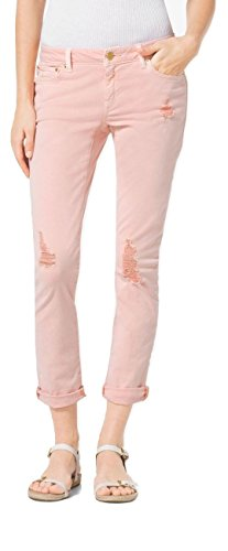 Michael Kors Women's Izzy Cropped Skinny Mid Rise Slim Distressed Jeans Pant, Pink (6)