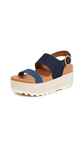 See by Chloe Women's Jenna Platform Sandals, Denim/Navy, Blue, 36 M EU