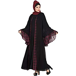 Mushkiya Amani-Multi layered-Dual Color Abaya Burkha-Black-Maroon for girls, ladies & women