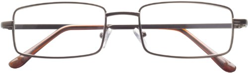 Dr. Dean Edell Basic Metal 3/4 Bronze Eye Rectangle with Brown Plastic Temple Tips and Case, +2.50, 0.200 Ounce Dean Edell Eyewear