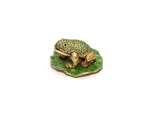 Frog Trinket Box Swarovski Crystals (Green Frog 3-inch Enameled Figurine, 24K Gold Trinket Jewelry Box with Swarovski Crystal, Hand-made (Frog))