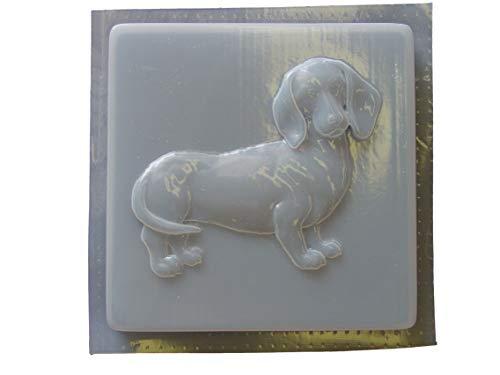 Stone Sculpture Supplies - Dachshund Dog Stepping Stone Concrete Plaster Mold 1259