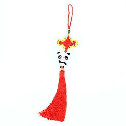 Panda_mall Handmade Chinese Knot Tassel Panda Accessories Hanging Ornament Car Rear View Mirror Ornament Car Pendant Christmas Day Gift(Darling)