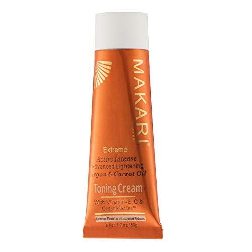 Makari Extreme Carrot & Argan Oil Toning FACE Cream 1.7oz - Lightening, Brightening & Tightening Moisturizer with Organiclarine - Anti-Aging Whitening Treatment for Dark Spots, Acne & Freckles