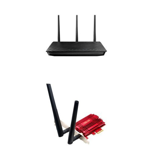 ASUS RT-N66U Dual-Band Wireless-N900 Gigabit Router and Wi-Fi PCI Express Adapter (PCE-AC56) Bundle