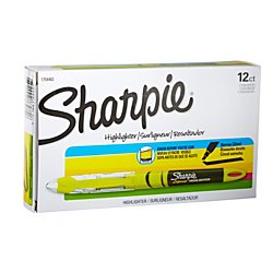 Sharpie Highlighters, Chisel Tip, Fluorescent Yellow, - Individual Sharpies