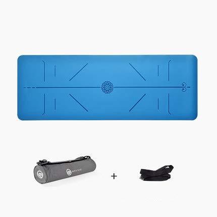 体重を減らす 非スリップ天然ゴムヨガマット万能泡フィットネスクッションピラティスエクササイズトレーニングに適した (色 : 青)  青 B07Q6BB1R7