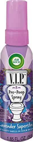 Air Wick V.I.P. Pre-Poop Toilet Spray, Up to 100 uses, Contains Essential Oils, Lavender Superstar Scent, Travel size, 1.85 oz