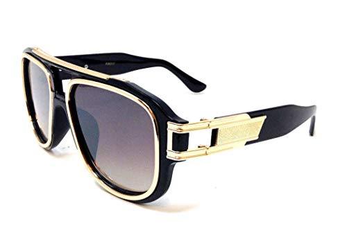 Gazelle Honcho Oversized XL Square Metal & Plastic Aviator Sunglasses (Glossy Black & Gold Frame, Brown ()