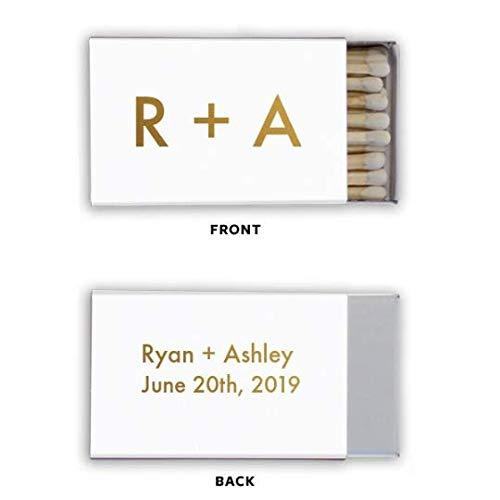 Personalized Wedding Classic Box Matches, set of 50    custom wedding matchbox favors cigar bar matchbook favors foil