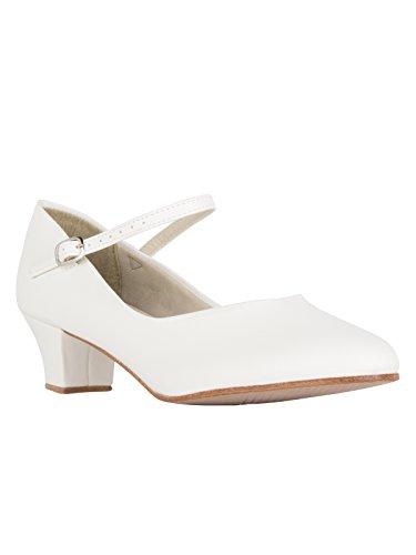 So Danca CH50 Charakterschuhe Tanzschuhe Latein Salsa Rumba Tango Ballroom Schuhe, Ledersohle Absatz 4 cm mit Button Ivory