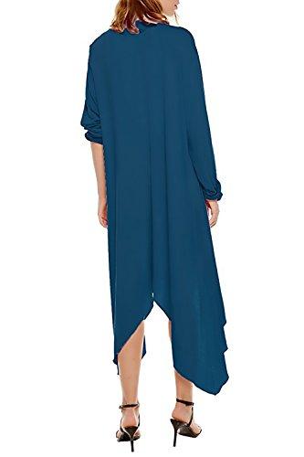 Frente Larga Abierto Waterfall Sólido Casual Irregular Chaquetas Moda Elegante Largos Outerwear Dobladillo De Mujer Azul Grande Cárdigans Abrigos Invierno Color Manga Rebecas Otoño Anchas Basicos q0xvAp