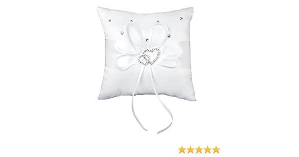 jooks anillos de boda almohada bolsillo novia double-heart Anillo Portador cojín romántico adornada con lazo de satén elegante diseño de color blanco ...