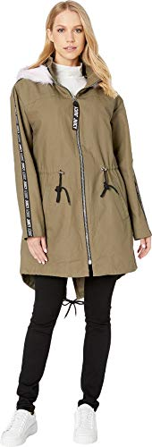 - Juicy Couture Women's Long Parka with Faux Fur Hood Dusty Olive Medium