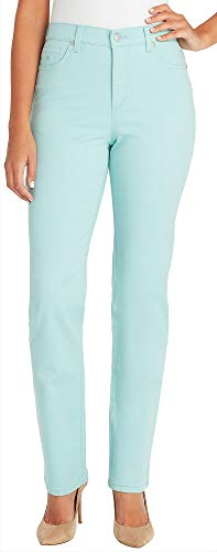 GLORIA VANDERBILT Petite Amanda Solid Slim Fit Jeans 4P Short Aqua Blue
