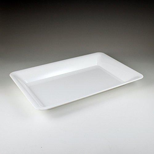 White Plastic Serving Tray, Rectangular 14