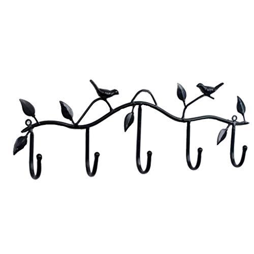 Bird Wall Hooks Decorative Wall Mounted Coat Rack Hanger with 6 Hooks Towel Hanger Storage Rack (Black) ()