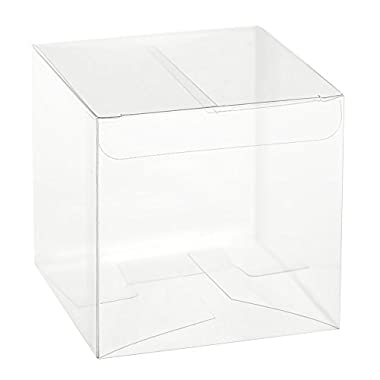 Ling's moment 3x3x3 Inch Clear Favor Boxes for Wedding Party Shower Gift Favor, Pack of 50