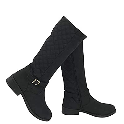 Wells Collection Womens Quilted Knee High Boots Flat Heel with Side Zipper Soft Faux Suede | Knee-High