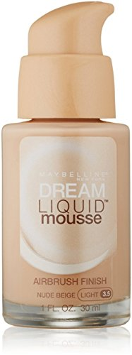 Maybelline Dream Liquid Mousse Airbrush Foundation, Nude Beige, Light [3.5], 1 oz (Pack of 2)