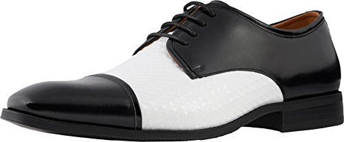 Stacy Adams Men's Forte Cap Toe Oxford, Black/White, 12 M US (Black And White Stacy Adams Shoes)