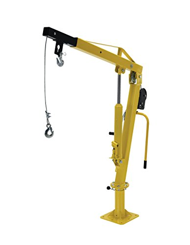 Vestil WTJ-2 Winch Operated Truck Jib Crane, Welded Steel, 1000 lbs Retracted Capacity, 56' Overall Height, Yellow