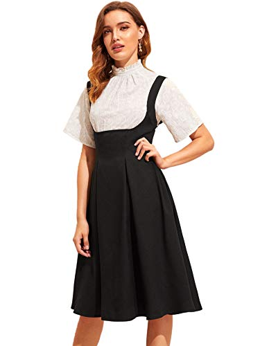 SheIn Women's Basic High Waist A-line Flared Suspender Skirt Pinafore Overall Dress Large Black#