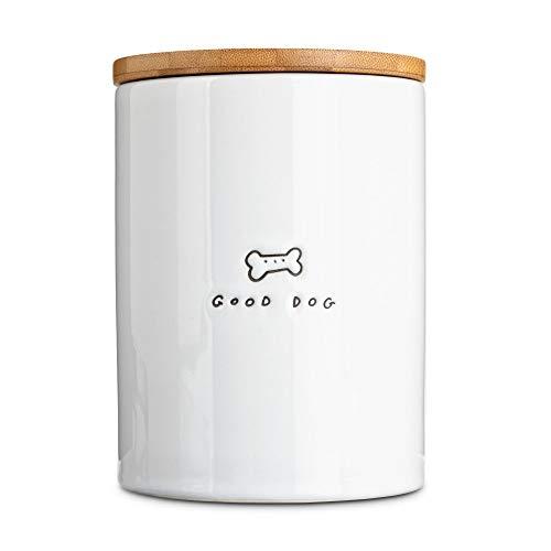 Harmony Good Dog Ceramic Dog Treat Jar Large White Natural Wood