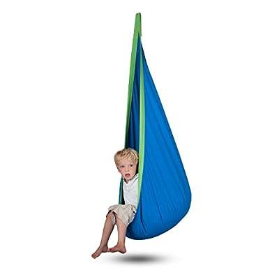 Ailuck Folding Home Child Rest Hammock Chair Hanging Pod Swing Seat for Kids Children Boys Girls Indoor Outdoor (Blue): Garden & Outdoor