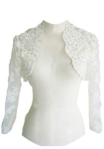 - EllieHouse Women's Lace Wraps Wedding Bridal Bolero Jacket With Pearls WJ16 Ivory Size 16