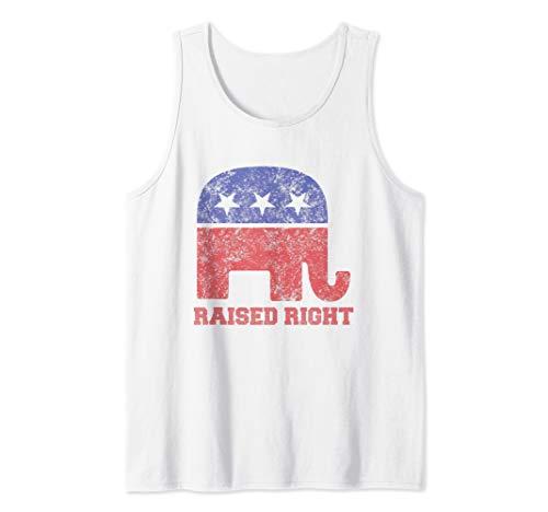 Raised Right! Republican Elephant Vintage Logo Tank Top