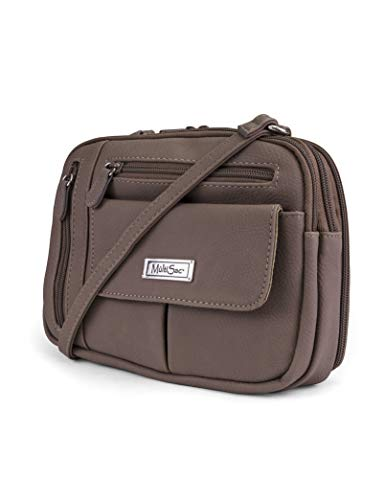 MultiSac womens Zippy Triple Compartment Crossbody Bag, Sand,One Size