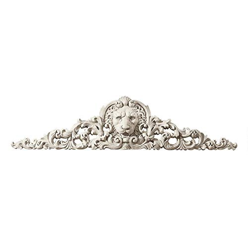 Design Toscano Remoulage Lion Wall Sculpture Door Decor Pediment, 38 Inch, Polyresin, Antique Stone