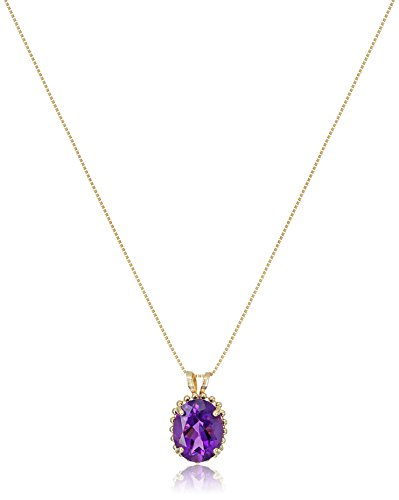 10k Beaded Yellow Gold with Oval Cut Amethyst Pendant Necklace, 18