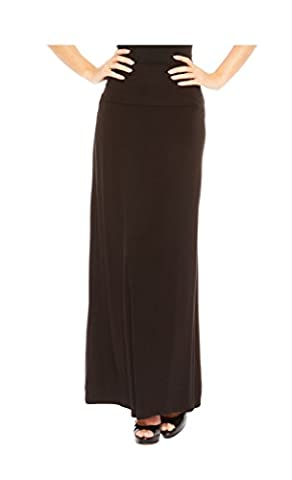 Red Hanger Women's Stylish Solid Long Maxi Skirt - Made In USA, Black-2X - Sexy Black Slinky