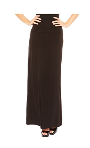 Red Hanger Women's Stylish Solid Long Maxi Skirt - Made in USA, Black-M Long Black Knit Skirt