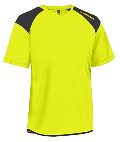 Diadora Grinta short-sleeve soccer goalkeeper jersey personalized with your name and number - color Matchwinner Yellow - size Youth Large (Short Sleeve Goalie Jersey)