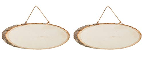 - Juvale Unfinished Wood Signs - 2-Pack Hanging Wooden Plaques with Rope, Oval Wood Slices, Natural Wood Signs, Decorative Door Signs, Rustic Signs for Home Decor, DIY Projects, 14 x 8 x 0.5 Inches