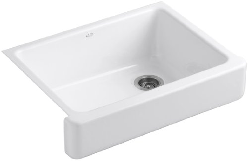 - Kohler K-6486-0 Whitehaven Self-Trimming Under-Mount Single-Bowl Kitchen Sink with Short Apron, White