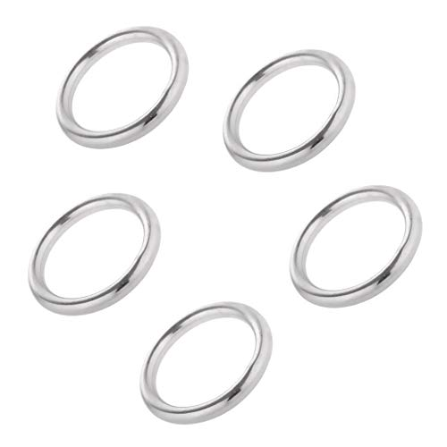 5pcs Smooth Welded Polished Boat Marine Stainless Steel O Ring 15-35mm (Size - 3 x 15mm)