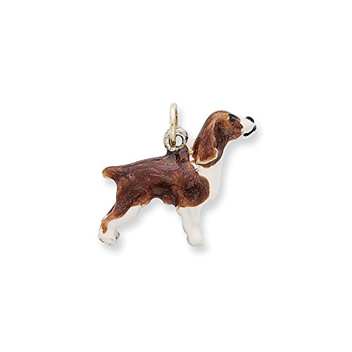 English Springer Spaniel Charm Hand Painted in 925 Sterling Silver 18x21mm (English Springer Spaniel Charm)