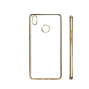 PLANETMOVIL® BQ AQUARIS X / X PRO funda de silicona carcasa con los bordes oro dorados gold gel dorada
