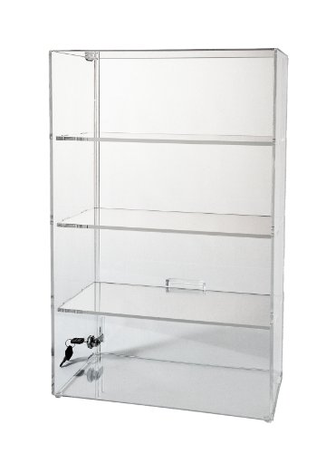 Display Case with Locking Back Door | Acrylic Case (SD213 (w/3 shelves) - 21-3/4H x 13-1/4W x 7-1/2D) by Choice Acrylic Displays