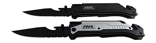 2X-1-Black-and-1-Silver-Rogue-River-Tactical-6-in-1-Multitool-Rescue-Pocket-Knife-with-Flint-Fire-Starter-LED-Flashlight-Bottle-Opener-Belt-Cutter-and-Windows-Breaker-Drop-Point-Blade-Collection