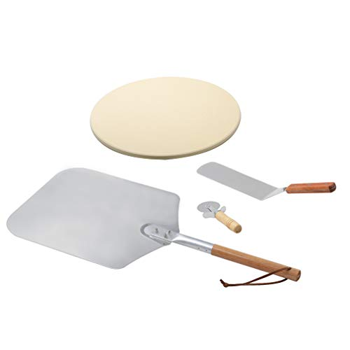 onlyfire Pizza Peel Kits for Any Oven or Grill- Wooden Handle Pizza Peel, Pizza Stone, Pizza Cutter and Pizza Shovel, 4 Packs (Pizza Grill Kit)