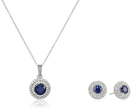 Sterling Silver Created Precious Gemstone and White Sapphire Double Halo Pendant Necklace and Stud Earrings Set